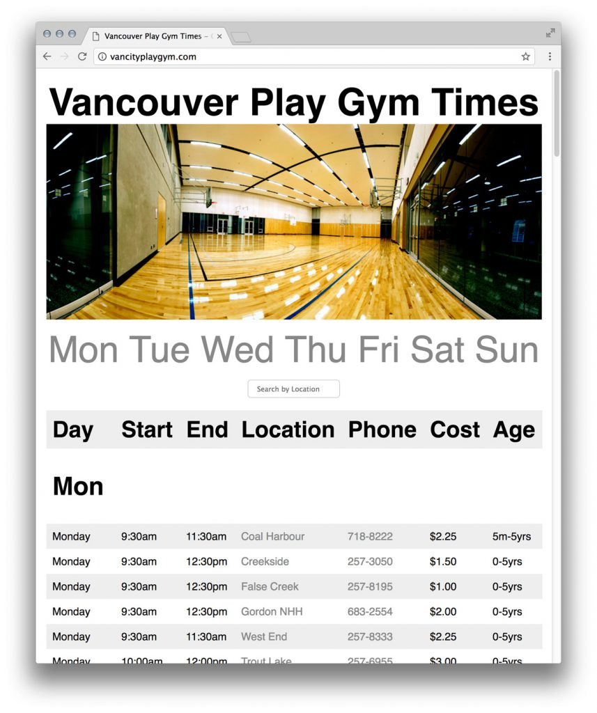Vancityplaygym.com Screenshot